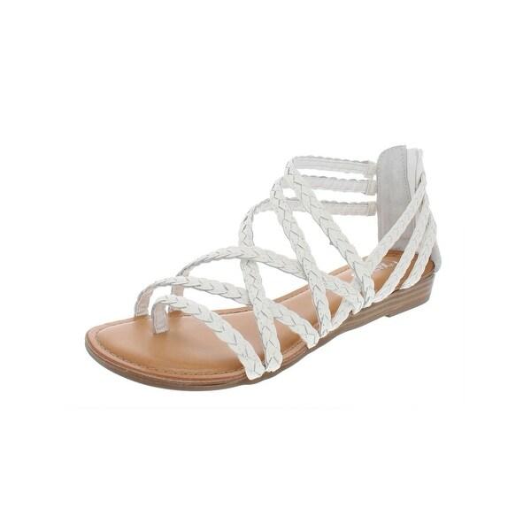 Carlos by Carlos Santana Womens Amara 2 Flat Sandals Leather Braided