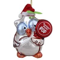 "4"" Candy Lane Tootsie Roll Pop Original Candy-Filled Lollipop ""Mr. Owl"" Glass Christmas Ornament - silver"