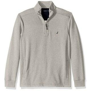 Nautica Mens Half Zip Mock Neck Sueded Fleece Sweatshirt