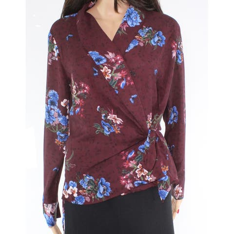 Catherine Malandrino Womens Blouse Red Size XS Wrap Floral-Printed