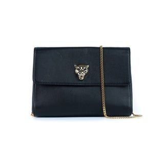 Cavalli Womens Black Leather Panther Cosmetic Shoulder Bag - Small