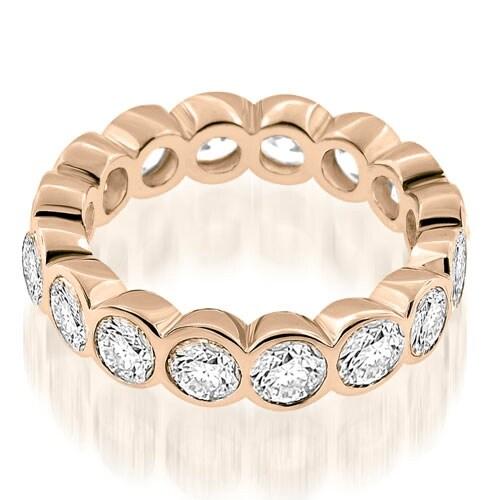 3.20 cttw. 14K Rose Gold Stylish Bezel Set Round Cut Diamond Eternity Ring