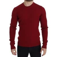 Dolce & Gabbana Red Knitted Wool Crewneck Sweater Pullover