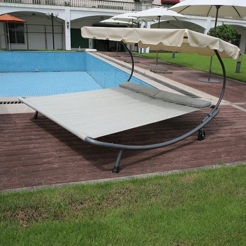Bethany Double Chaise Lounge Shaded Hammock Bed by Havenside Home