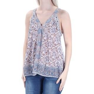 JOIE Womens New 1307 Blue Ivory V Neck Sleeveless Casual Top S B+B