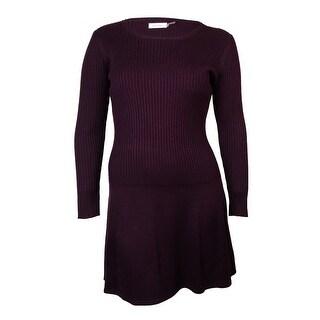 Calvin Klein Women's Dropped-Waist Ribbed Sweater Dress - l