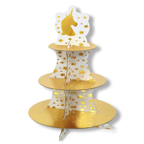 "Club Pack of 12 Shiny Gold and White Unicorn and Stars Cupcake Stand 16"" - N/A"