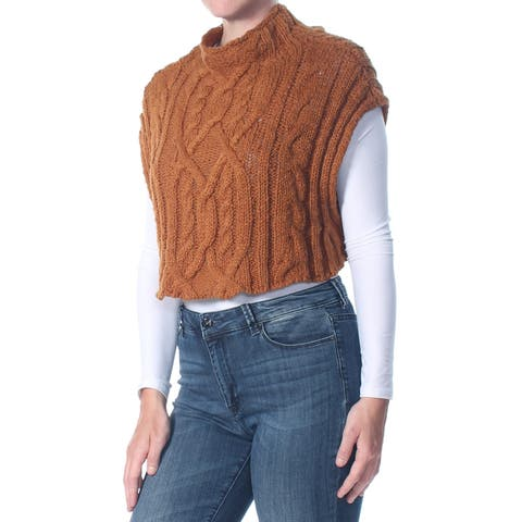 FREE PEOPLE Womens Brown Mock Neck Frosted Cable Sleeveless Sweater Size: S