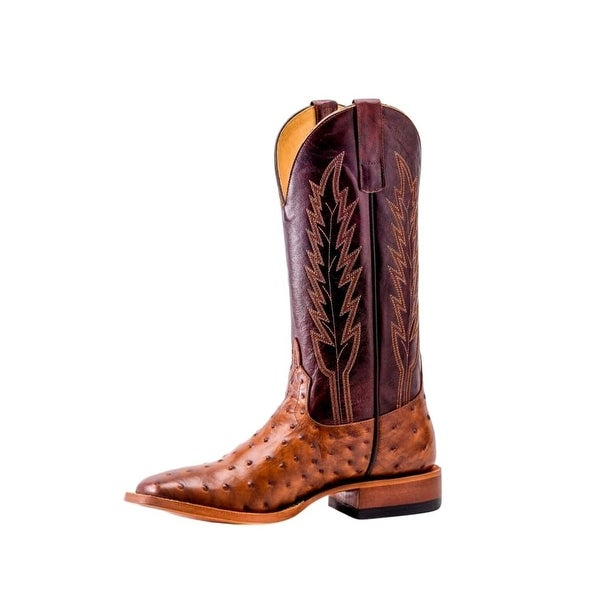 Horse Power Western Boots Mens Ostrich Print Pull On Red Raven
