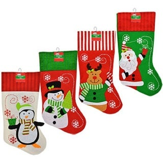 Set of 4 Pack: Christmas House Polyester Christmas Character Stockings with Striped Cuffs, 18 Inch