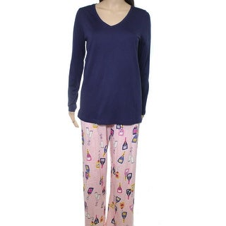 HUE NEW Navy Blue Pink Women's Size Small S Champagne Print Pajama Set