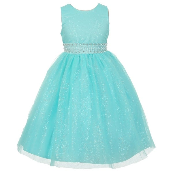 6d92236c5f3a6 Shop Rainkids Girls Aqua Sparkly Tulle Pearls Special Occasion Dress 8-12 -  Free Shipping On Orders Over $45 - Overstock - 18175775