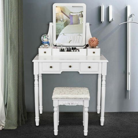 Square Mirror & 5 Drawers Roman Column Legs Dressing Table White