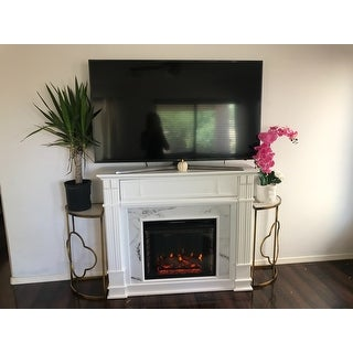 Gracewood Hollow Occom Faux Cararra Marble Electric Media Fireplace