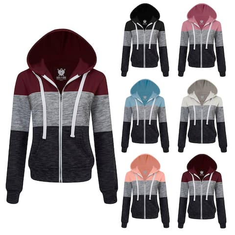 Made By Johnny Women's Active Zip-up Color Block Hoodie Sweatshirt