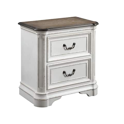 ACME Florian Nightstand in Antique White & Oak Finish