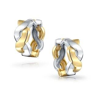 Bling Jewelry 925 Silver Small Infinity Small Hoop Hoop Two Tone Earrings