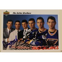 199192 Upper Deck Card Autographed by 5 of the 6 Sutter Brothers Autographs are Brent Sutter Brian
