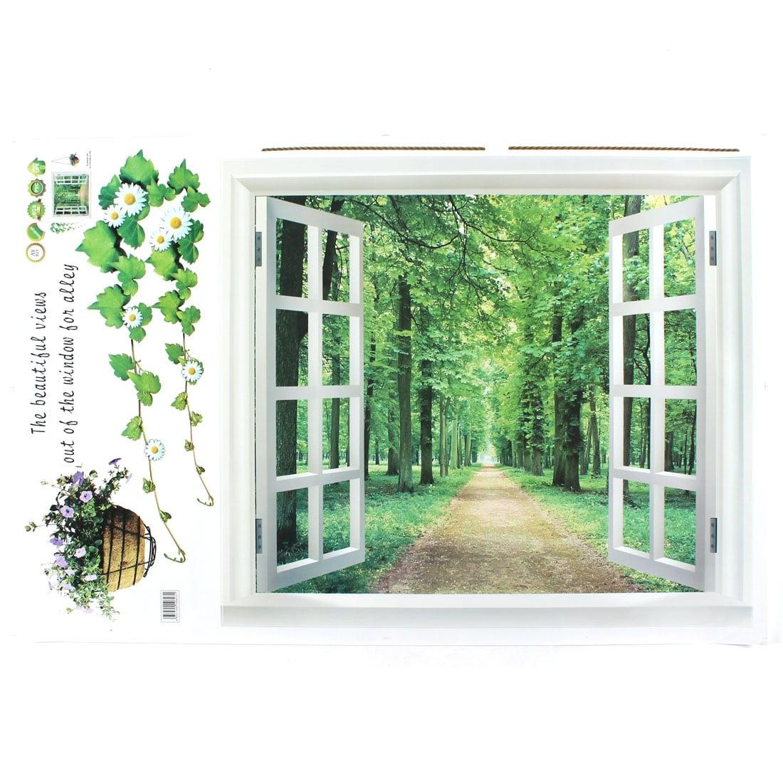 Beautiful Garden 3D Window View Decal WALL STICKER Home Decor Art Mural