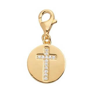 Julieta Jewelry Cross Disc CZ Clip-On Charm