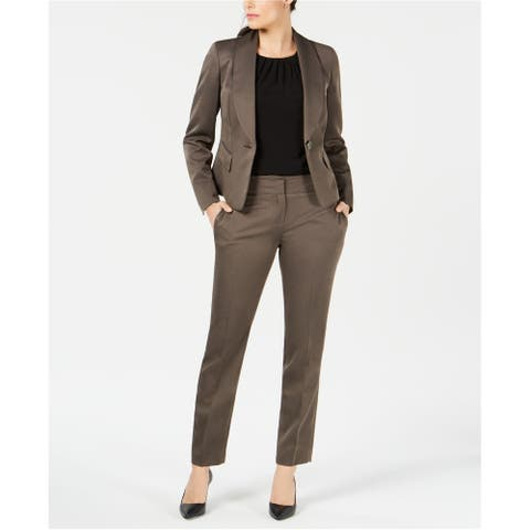 Le Suit Womens Shawl Collar One Button Blazer Jacket, Brown, 14P