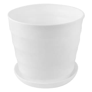 Unique Bargains Home Balcony Office Plastic Round Plant Planter Holder Flower Pot White 19cm Dia