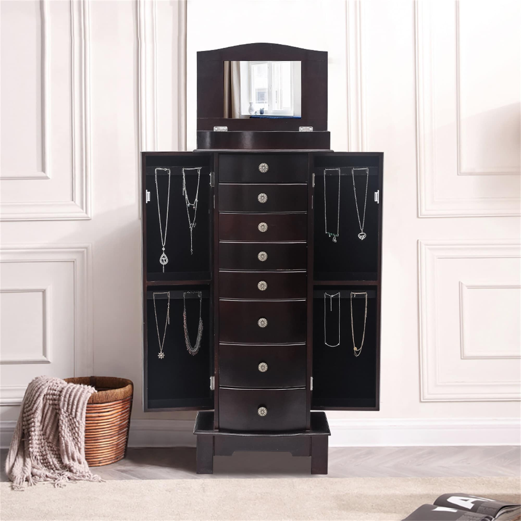 Image of: Shop Standing Jewelry Armoire With Mirror 5 Drawers 6 Necklace Hooks On Sale Overstock 31721612