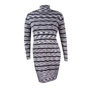 Calvin Klein Women's Ribbed Striped Turtleneck Dress