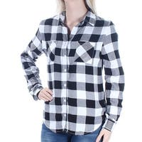 Womens Black Plaid Cuffed Collared Button Up Top  Size  S