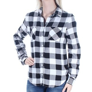Womens Black Plaid Cuffed Collared Casual Button Up Top Size S