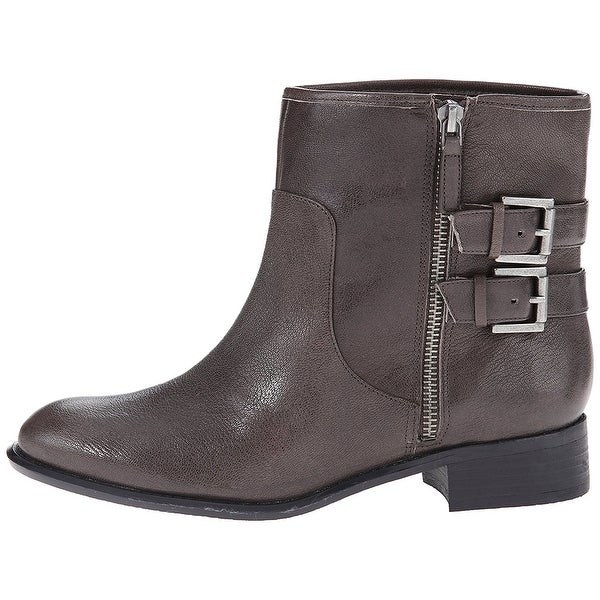 Nine West Womens Justthis Leather Almond Toe Ankle Fashion Boots