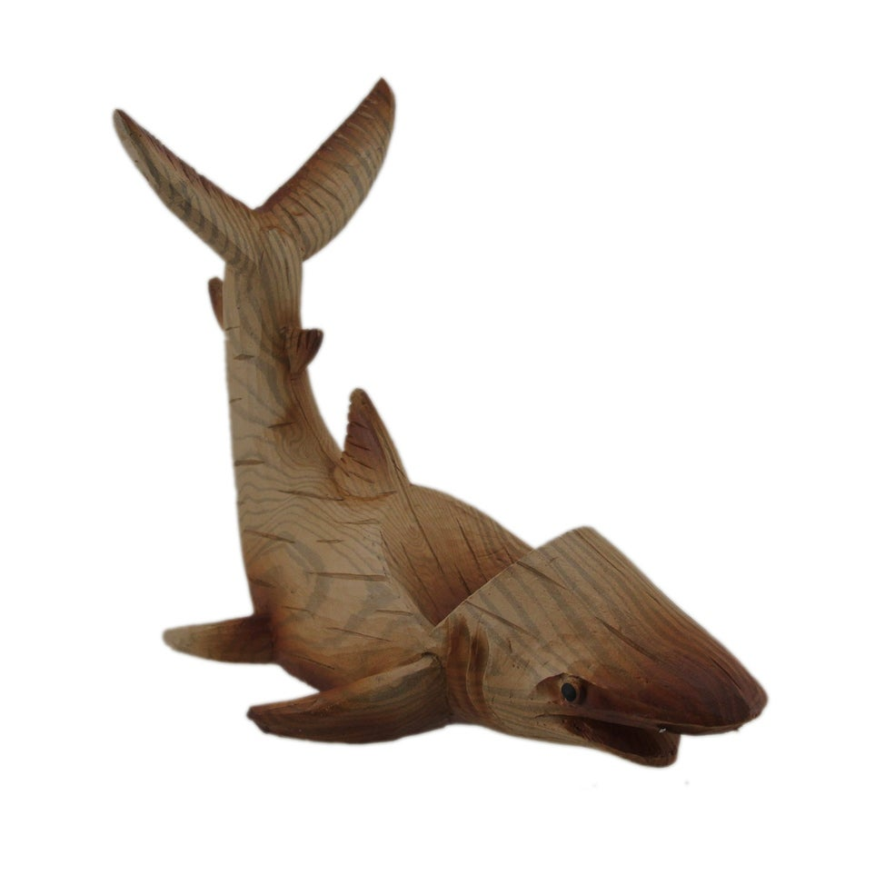ce3213e10f Shop Carved Wood Look Polyresin Shark Wine Bottle Holder - 7.25 X 9.5 X 5  inches - Free Shipping On Orders Over $45 - Overstock - 27898649
