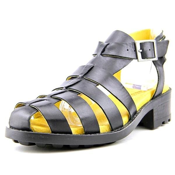 Eric Michael Mykonos Women Open Toe Leather Black Gladiator Sandal