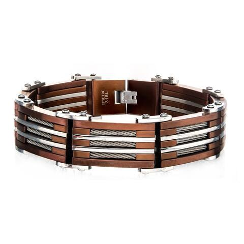 Inox Mens Stainless Steel Cappuccino IP and Steel Link with Tri-Cable Wide Inlayed Bracelet 9 inch long