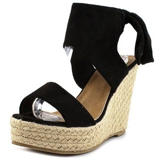 Qupid Boston-03 Open Toe Suede Wedge Heel