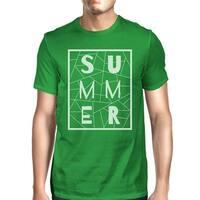 Summer Geometric Mens Green Tshirt Trendy Design Cotton Graphic Tee