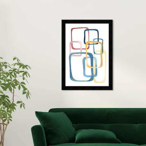Wynwood Studio 'Some Frames' Abstract Wall Art Framed Print Shapes - Blue, Yellow