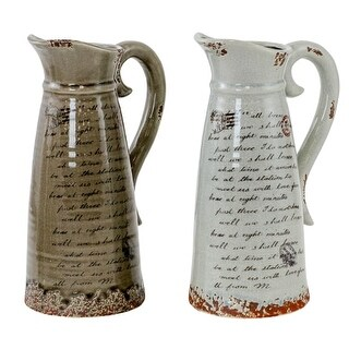 Aspire Home Accents 7987 Paulina Two Piece 12 Inch x 7 1/2 Inch Ceramic Pitcher Set