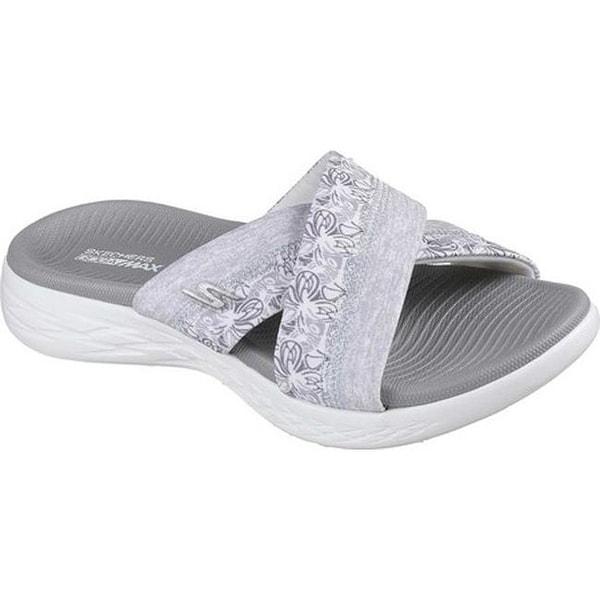 8ec38c8f725b0 Shop Skechers Women's On the GO 600 Monarch Slide Sandal White/Gray ...