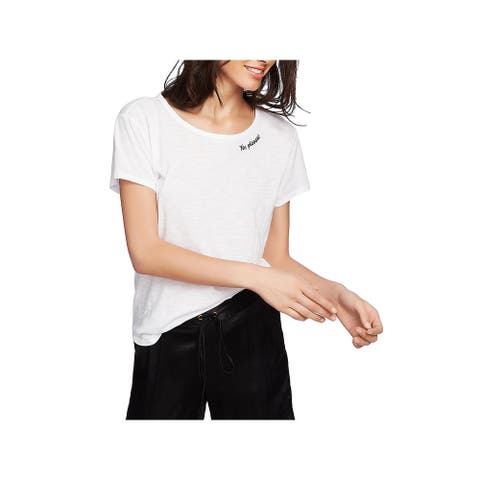1.State Womens Yes Please! Pullover Top Embroidered Casual - Ultra White - M