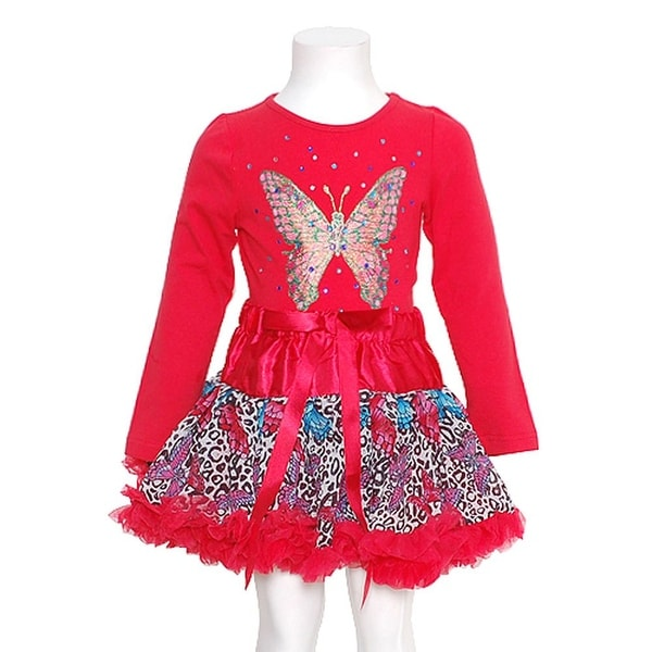 GiGi Red Butterfly 2pc Top Ruffle Skirt Fall Outfit Baby Girls 24M
