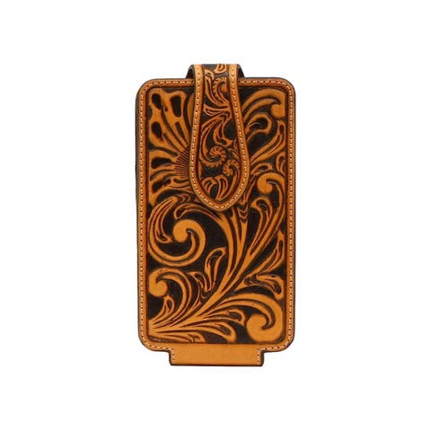 Ariat Western Cell Phone Case Leather Floral Natural