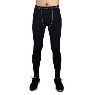 Men Sports Compression Base Layer Tights Running Long Pants Black W32