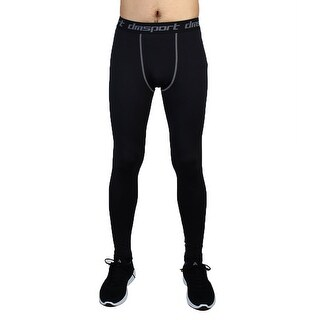 Men Sports Compression Base Layer Tights Running Long Pants Black W38