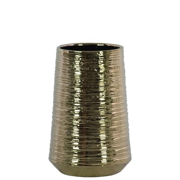 Round Ceramic Vase With Combed Design, Medium, Gold