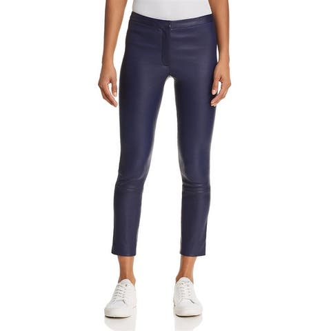 Theory Womens Skinny Pants Leather Ankle - Bright Midnight