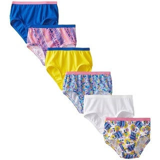 Fruit of the Loom Girls 7-14 Printed Briefs - 6 Pack - Multi