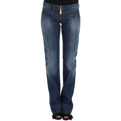Cavalli Cavalli Blue Wash Cotton Stretch Boot Cut Jeans