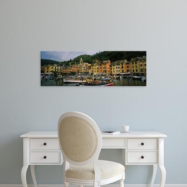 Easy Art Prints Panoramic Images's 'Fishing boats at the harbor, Portofino, Italy' Premium Canvas Art