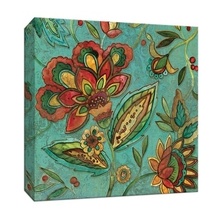 """PTM Images 9-146684  PTM Canvas Collection 12"""" x 12"""" - """"Teal Jacobean Spice II"""" Giclee Flowers Art Print on Canvas"""